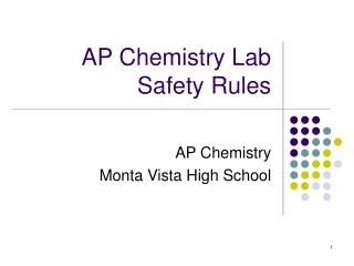AP Chemistry Lab Safety Rules