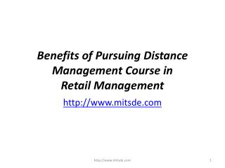 Benefits of Pursuing Distance Management Course in Retail Management