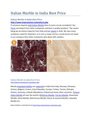 Italian Marble in India Best Price