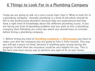 6 Things to Look For in a Plumbing Company