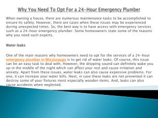 Why You Need To Opt For a 24-Hour Emergency Plumber