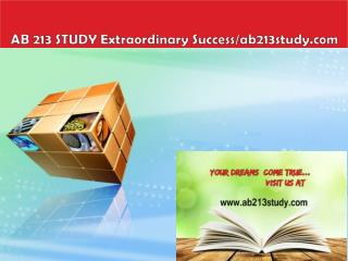AB 213 STUDY Extraordinary Success/ab213study.com