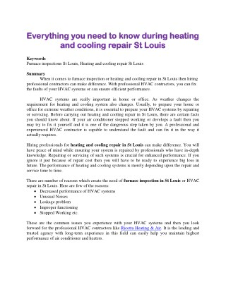 Everything you need to know during heating and cooling repair St Louis