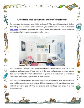 Affordable Wall stickers for children's bedrooms