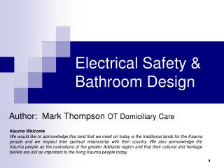 Electrical Safety & Bathroom Design