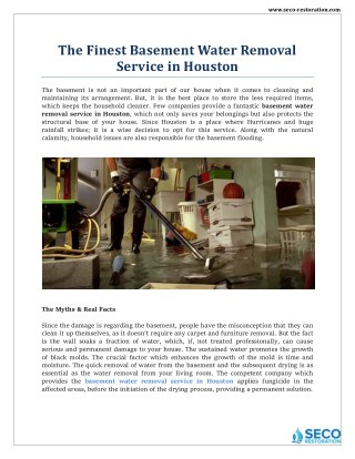Basement Water Removal Service in Houston - Seco Restoration