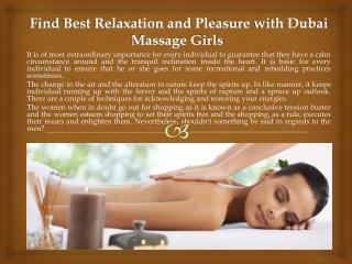 Find Best Relaxation and Pleasure with Dubai Massage Girls