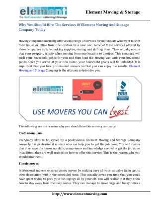 Why You Should Hire The Services Of Element Moving And Storage Company Today