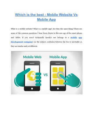 Which is the best : Mobile Website Vs Mobile App
