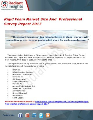 Rigid Foam Market Size And  Professional Survey Report 2017