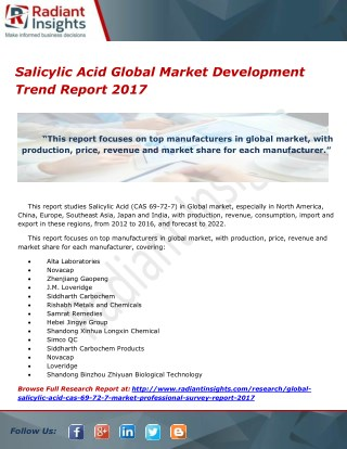 Salicylic Acid Global Market Development Trend Report 2017