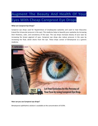 Cheap Careprost Eye Drops 0.03 (Bimatoprost) Buy Online USA