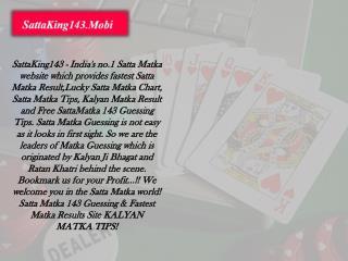 The India's Best Satta Matka Game   Satta King143