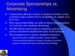 Corporate Sponsorships vs. Advertising