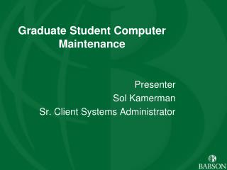 Laptop Maintenance Presentation Graduate Student Computer ...