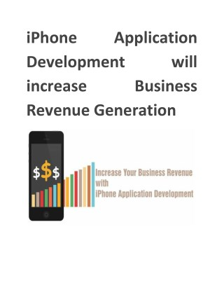 iPhone Application Development will increase Business Revenue Generation
