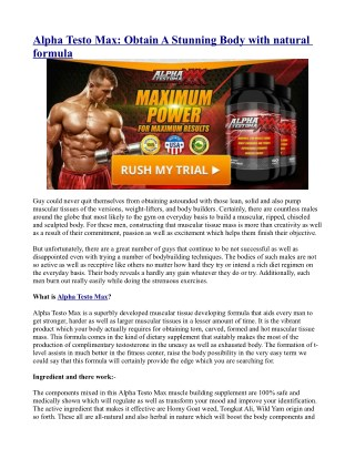 Alpha Testo Max: Obtain A Stunning Body with natural formula