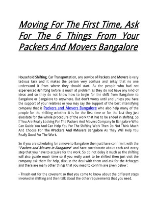 Moving For The First Time, Ask For The 6 Things From Your Packers And Movers Bangalore