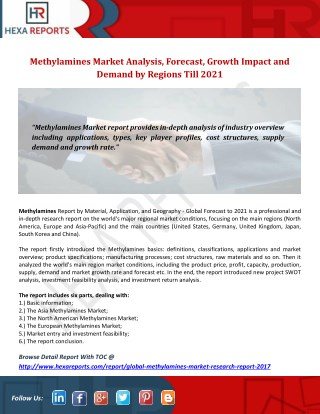 Methylamines Market Analysis, Forecast, Growth Impact and Demand by Regions Till 2021