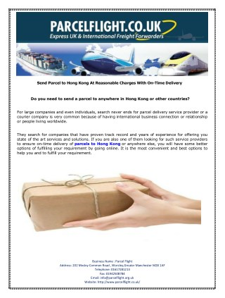 Send Parcel to Hong Kong At Reasonable Charges With On-Time Delivery