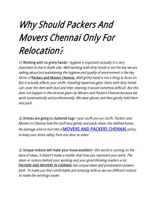Why Should Packers And Movers Chennai Only For Relocation?