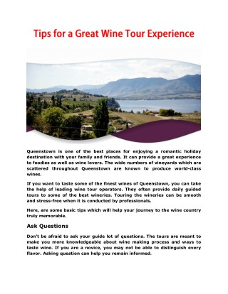 Tips for a Great Wine Tour Experience