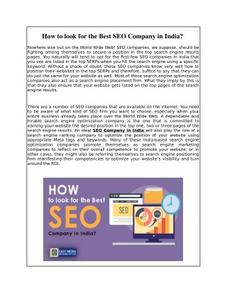 How to look for the Best SEO Company in India?