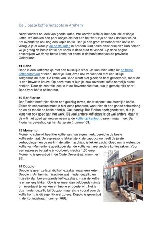 De 5 beste koffie hotspots in Arnhem