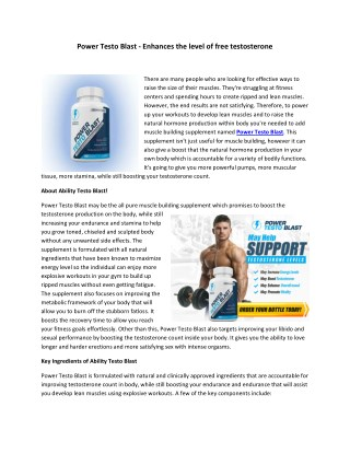 Power Testo Blast - Drives lean muscle mass structure on physique