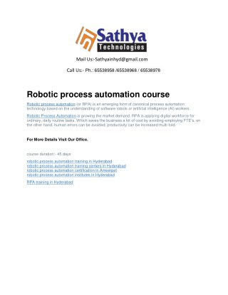 Robotic process automation (RPA) software training institute hyderabad