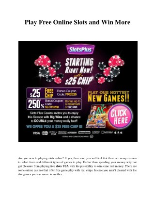 Play Free Online Slots and Win More