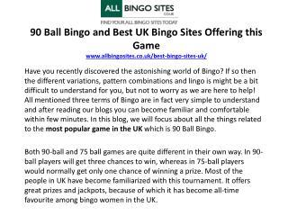 90 Ball Bingo and Best UK Bingo Sites Offering this Game