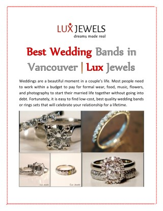 Best Wedding Bands in Vancouver | Lux Jewels