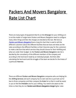 Packers And Movers Bangalore Rate List Chart