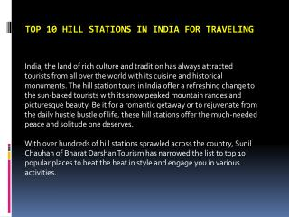 Top 10 Hill Stations in India for Traveling