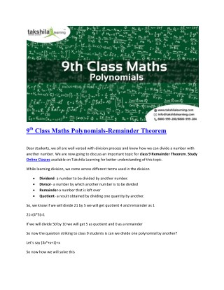 9th class Maths _Polynomials_Remainder theorm