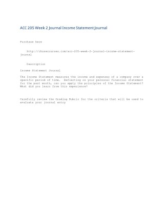 ACC 205 Week 2 Journal Income Statement Journal