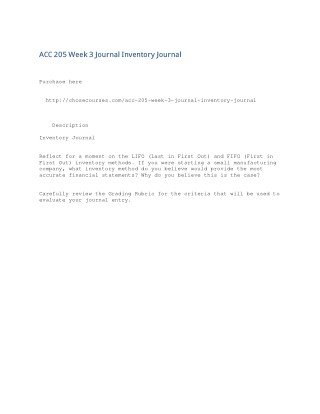ACC 205 Week 3 Journal Inventory Journal