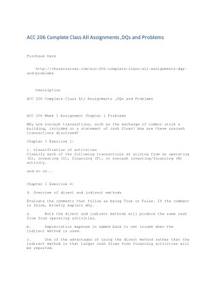 ACC 206 Complete Class All Assignments ,DQs and Problems