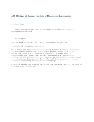 ACC 206 Week 2 Journal Institute of Management Accounting