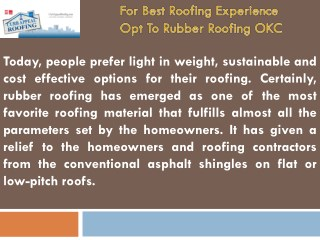 For Best Roofing Experience Opt To Rubber Roofing OKC