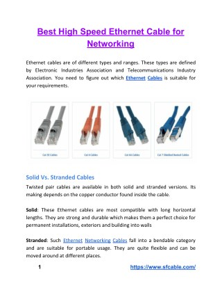 Best High Speed Ethernet Cable for Networking