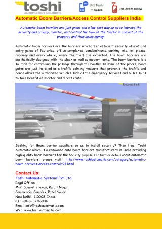 Automatic Boom Barriers-Access Control Suppliers India  - Toshi