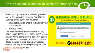 A guide to support unable to backup company file