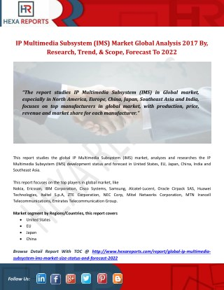 IP Multimedia Subsystem (IMS) Market Global Analysis 2017 By, Research, Trend, Scope & Forecast To 2022