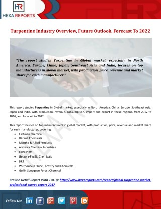 Turpentine Industry Overview, Future Outlook, Forecast To 2022