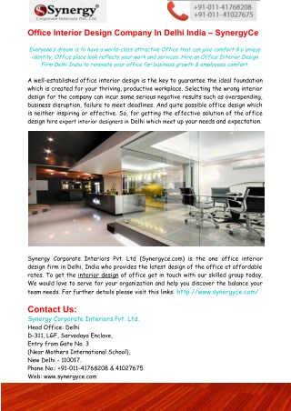 Office Interior Design Company In Delhi India – SynergyCe