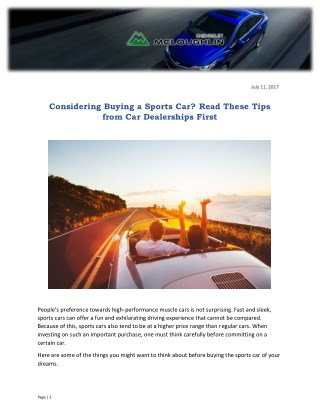 Considering Buying a Sports Car? Read These Tips from Car Dealerships First