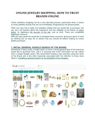 ONLINE JEWELRY SHOPPING: HOW TO TRUST BRANDS ONLINE