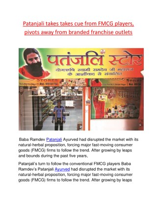 Patanjali takes takes cue from FMCG players, pivots away from branded franchise outlets